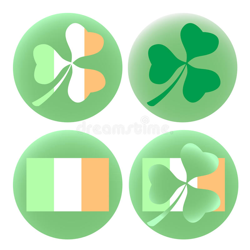 传染媒介EPS10例证圣徒Patricks天套与爱尔兰旗子和三叶草三叶草的四枚圆的徽章 向量例证