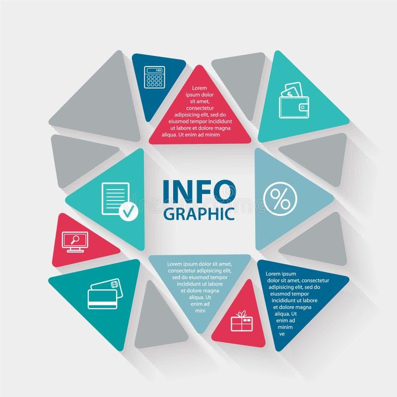 传染媒介infographic圈子的三角 模板为 库存例证