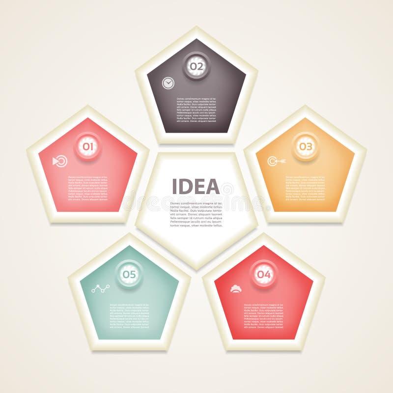 传染媒介infographic设计模板 与5个选择、部分、步或者过程的企业概念 能为工作流布局, d使用 库存例证