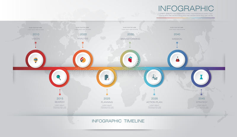 传染媒介infographics时间安排与3D纸标签和图表8步选择的设计模板 皇族释放例证