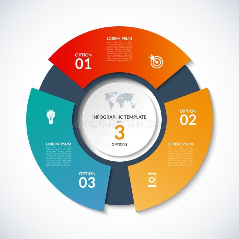 传染媒介infographics的圈子模板 与3个选择,步,零件,段的企业概念 皇族释放例证