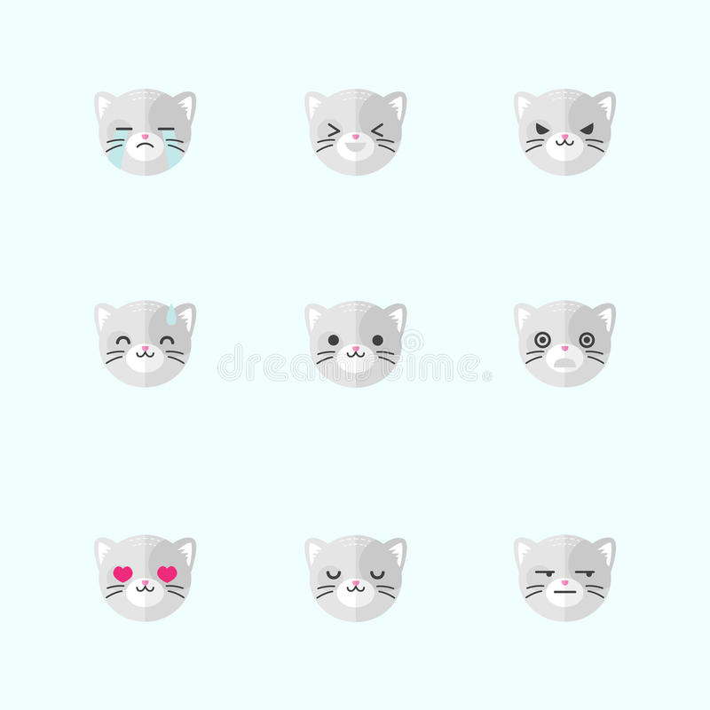 传染媒介minimalistic平的猫情感象集合 向量例证
