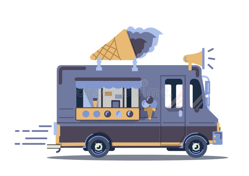 传染媒介van illustration 减速火箭的葡萄酒冰淇凌卡车 皇族释放例证