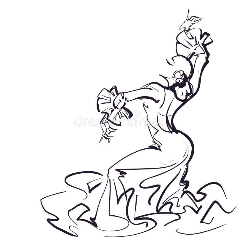 传神印象深刻的姿势的佛拉明柯舞曲舞蹈家 库存例证