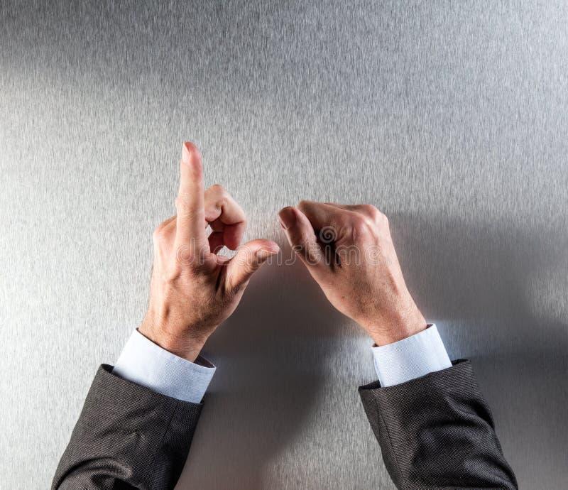 传神商人递计数,显示缓和或反射在办公室 库存图片