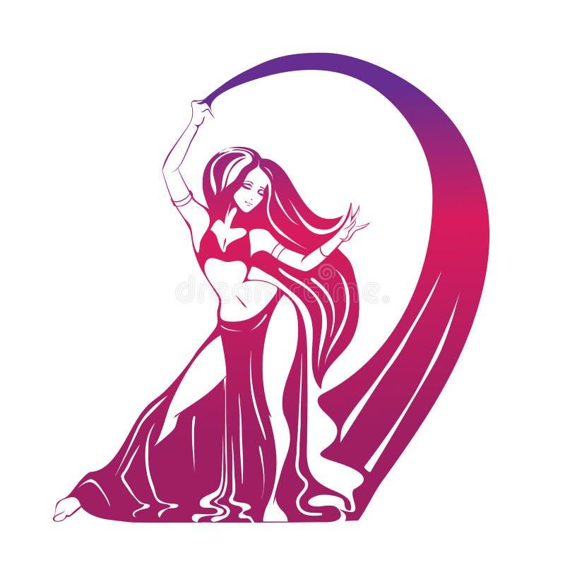 传神姿势的跳舞妇女 平的剪影 向量例证