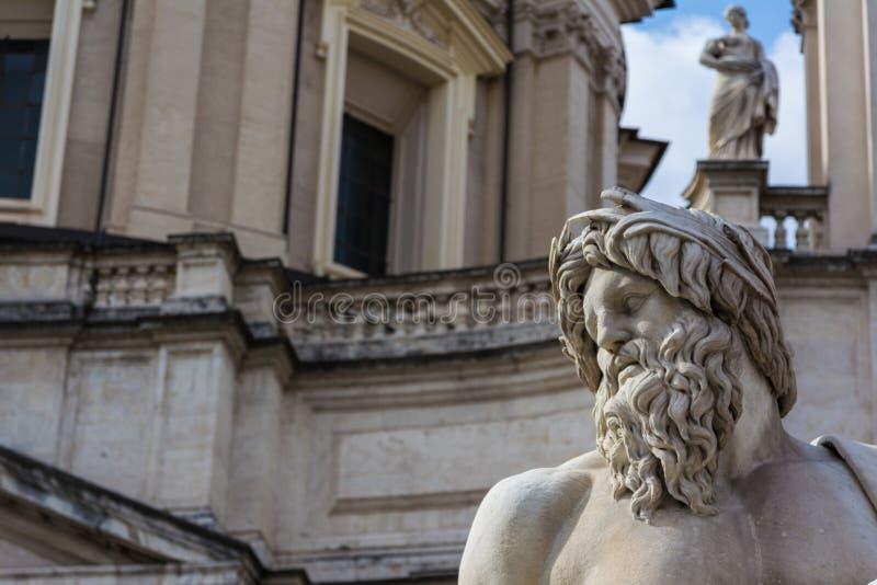 传神雕象胡子面孔Fiumi喷泉,罗马意大利 免版税库存图片