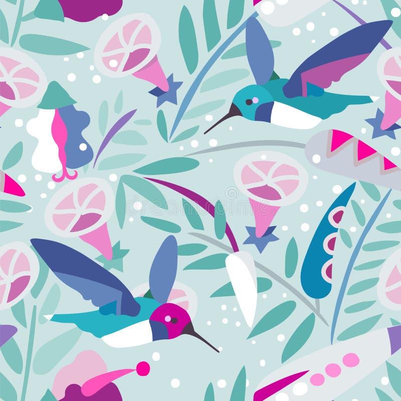 传粉者-蜂鸟,无缝的样式 向量例证