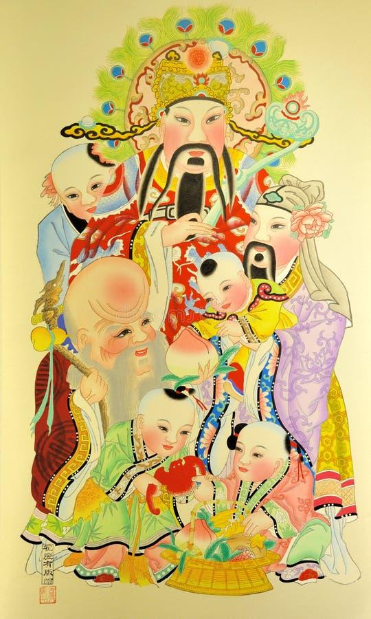 传统中国不朽的打印 库存照片