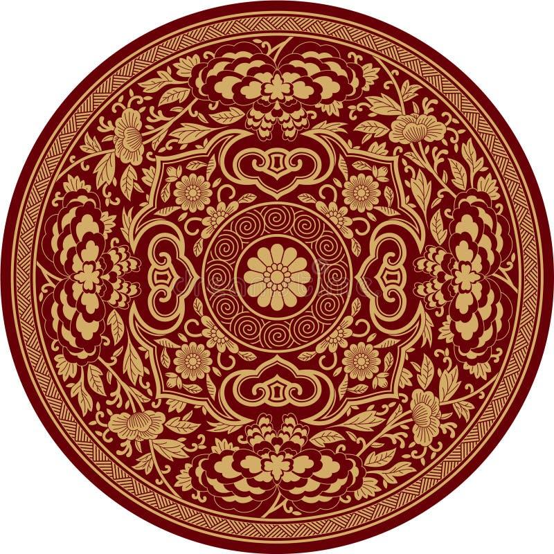 传统中国模式的玫瑰华饰 皇族释放例证