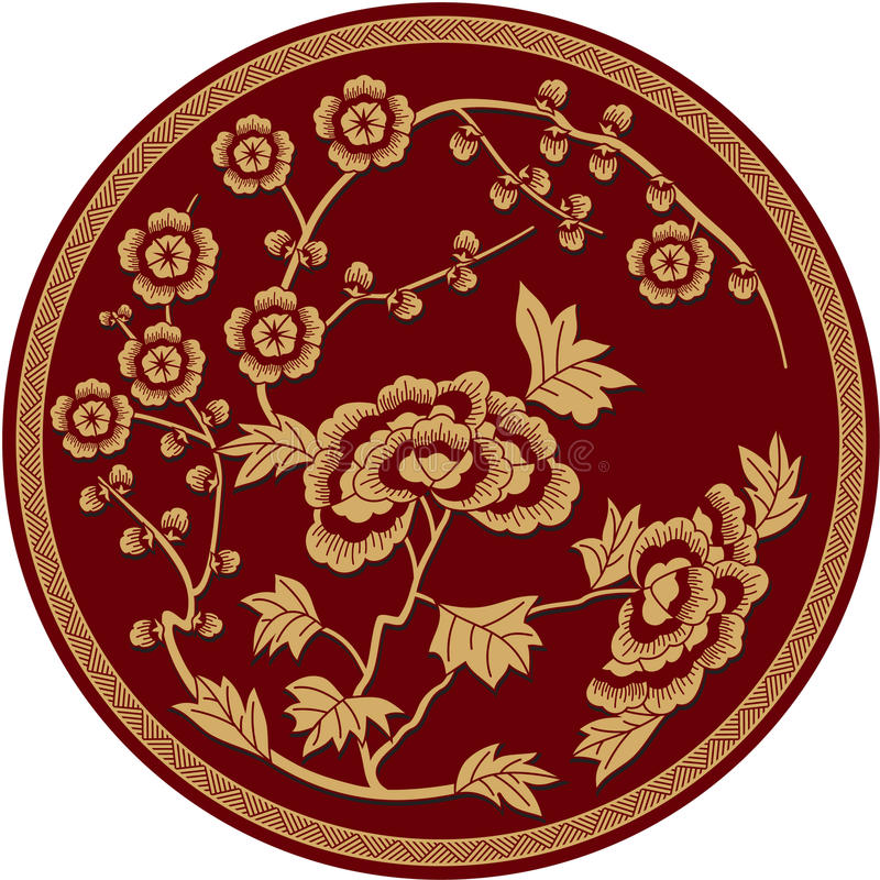 传统中国花卉的模式 向量例证