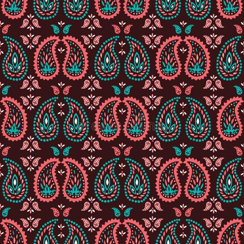 传统中比例尺五颜六色的佩兹利薄软绸子传染媒介无缝的样式 东方异想天开的经典背景 向量例证