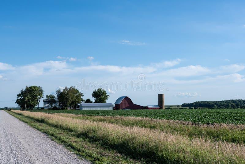 传统中西部的农场 库存图片