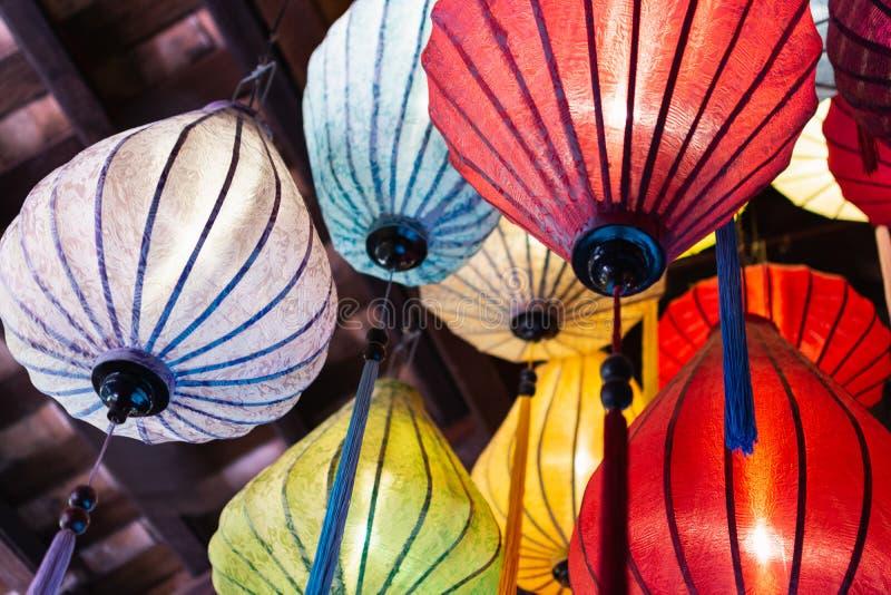 传统五颜六色的会安市纸灯,越南 图库摄影