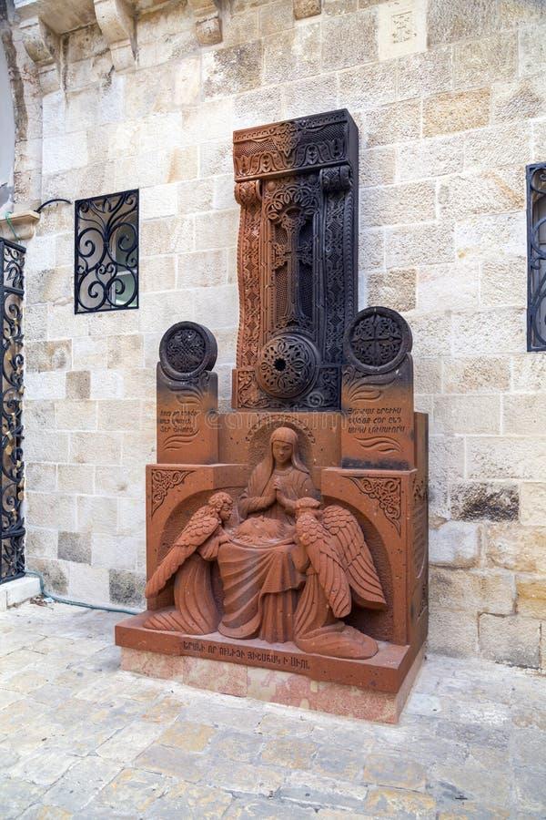 传统亚美尼亚Khachkar,跨石头艺术,神圣的十字架,在耶路撒冷找到的被雕刻的岩石 免版税库存图片