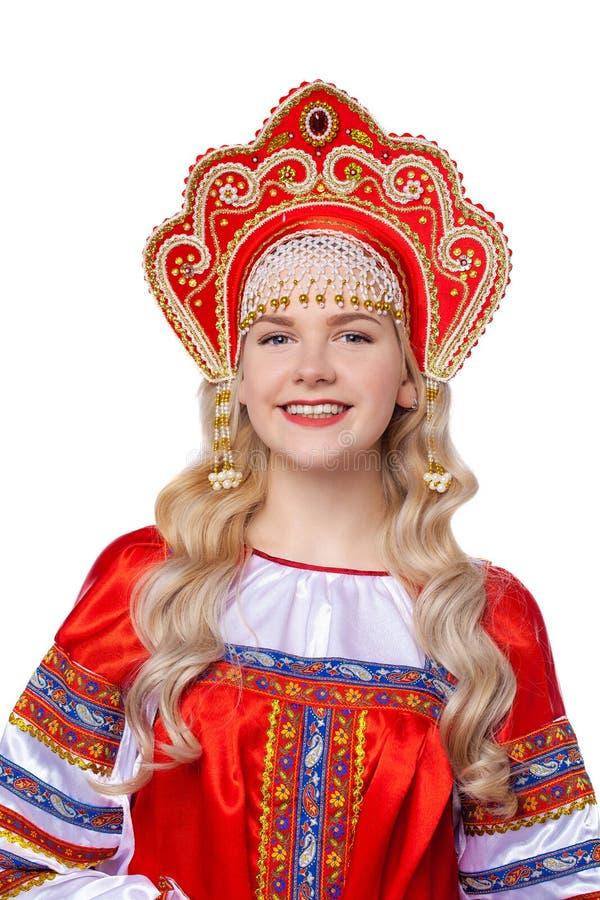 传统俄国民间服装,一年轻美女的画象 库存照片