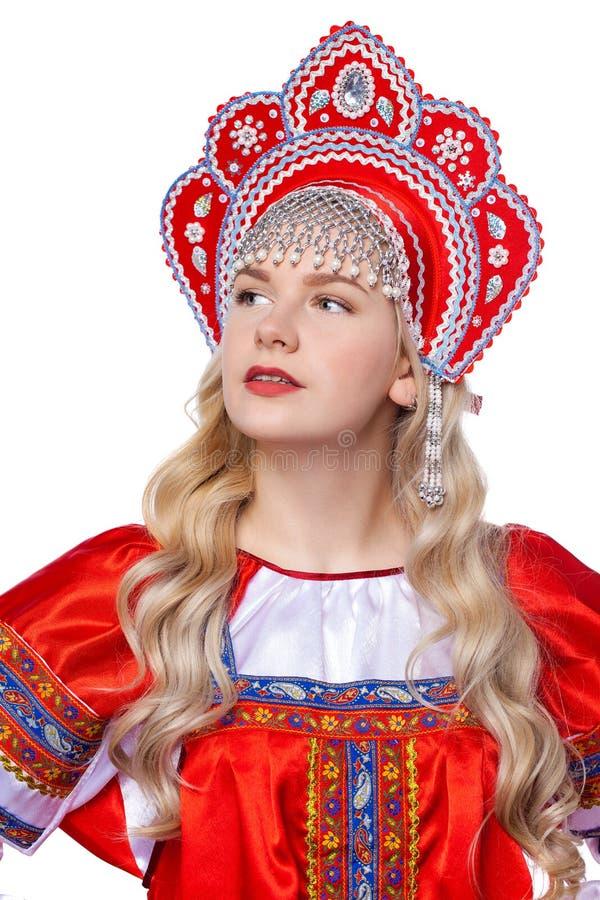 传统俄国民间服装,一年轻美女的画象 库存图片