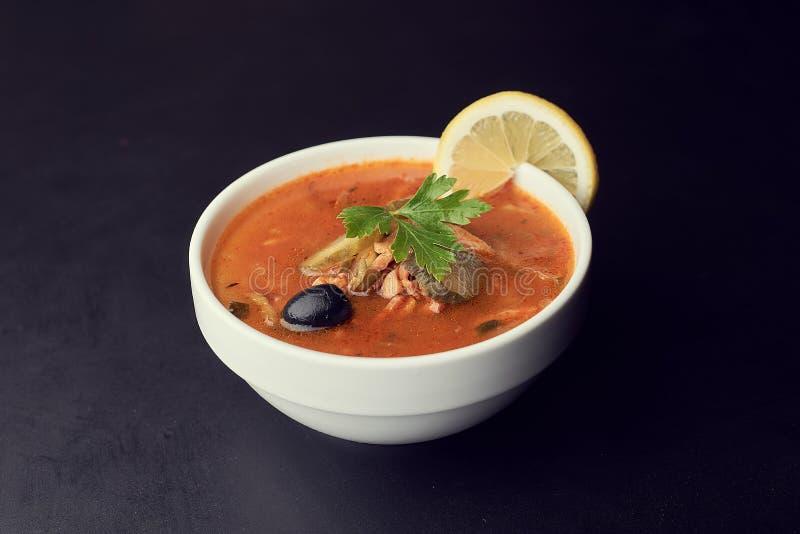 传统俄国汤索良卡烹调用肉、香肠、盐味的黄瓜和橄榄 免版税库存照片
