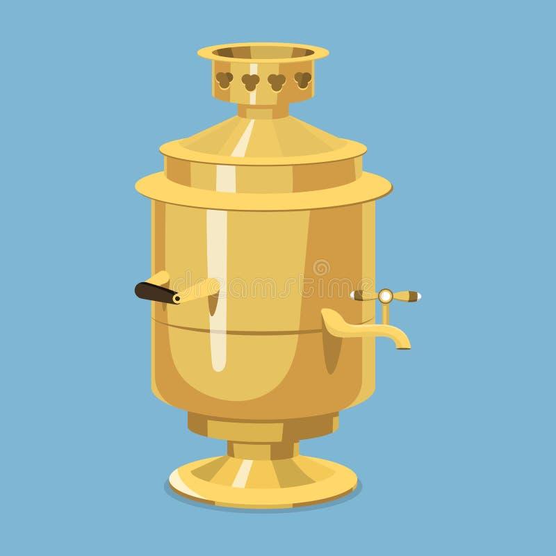 传统俄国金俄国式茶炊培养皿路线饮料欢迎到俄罗斯食家全国膳食传染媒介例证 皇族释放例证