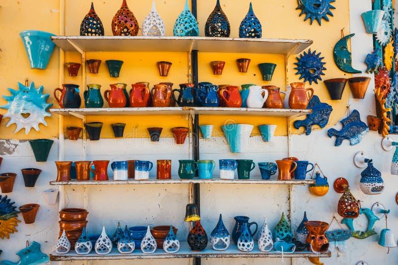 传统克里特岛人被绘的陶器 库存照片