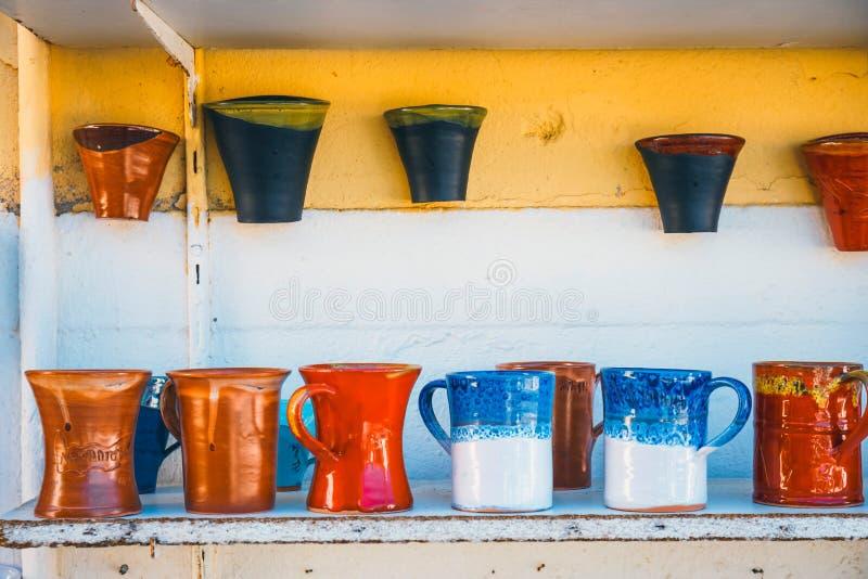 传统克里特岛人被绘的陶器 库存图片