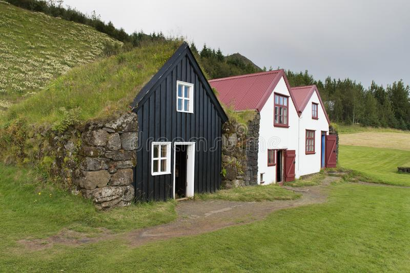 传统冰岛房子在斯科加尔 库存图片
