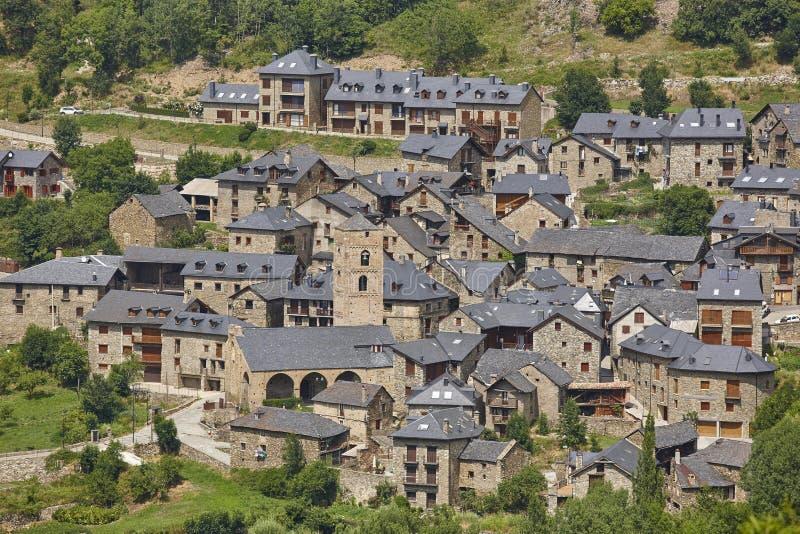 传统加泰罗尼亚村庄 瓦勒de Boi Durro 西班牙语罗马 图库摄影