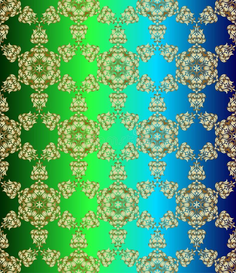 传统印度样式,装饰花卉元素 金黄mehndi无缝的样式的传染媒介例证 向量例证