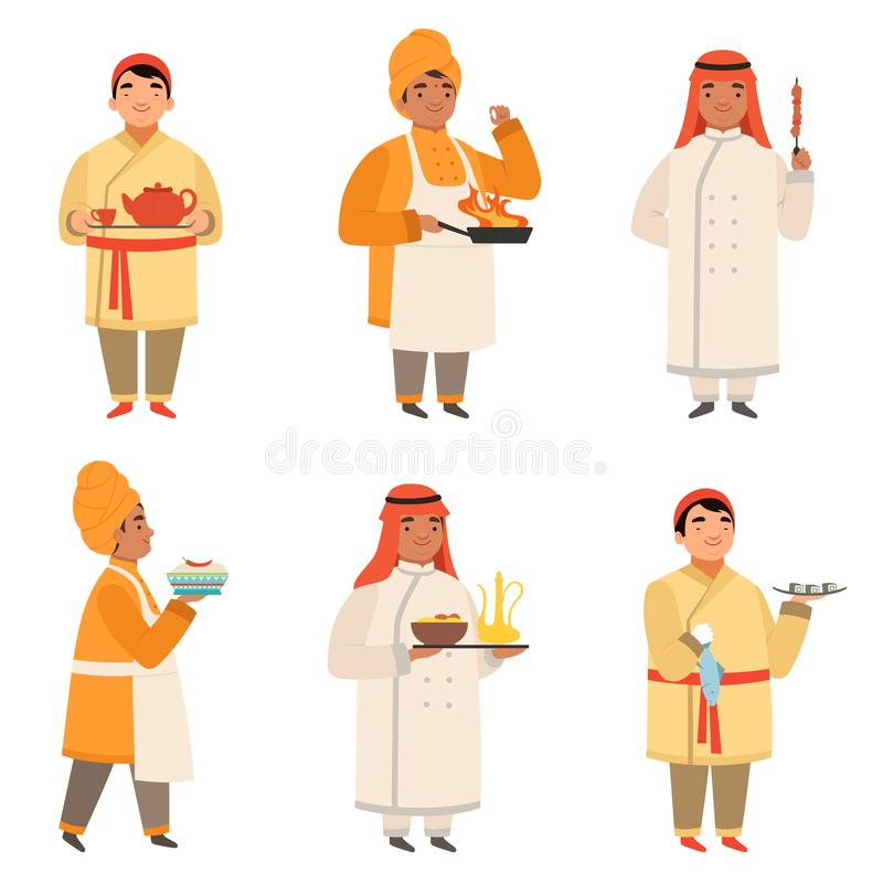 传统厨师字符 不同的国籍的亚洲黑印地安语烹调在厨房传染媒介的厨师和阿拉伯人 向量例证