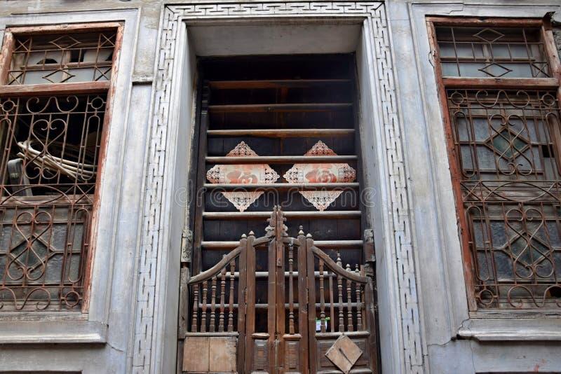 传统古板的滑的woode门 库存图片