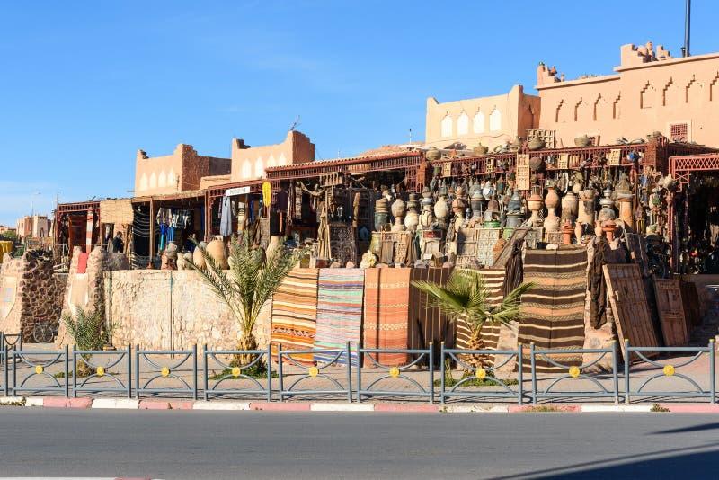 传统商店在瓦尔扎扎特,摩洛哥 免版税库存照片