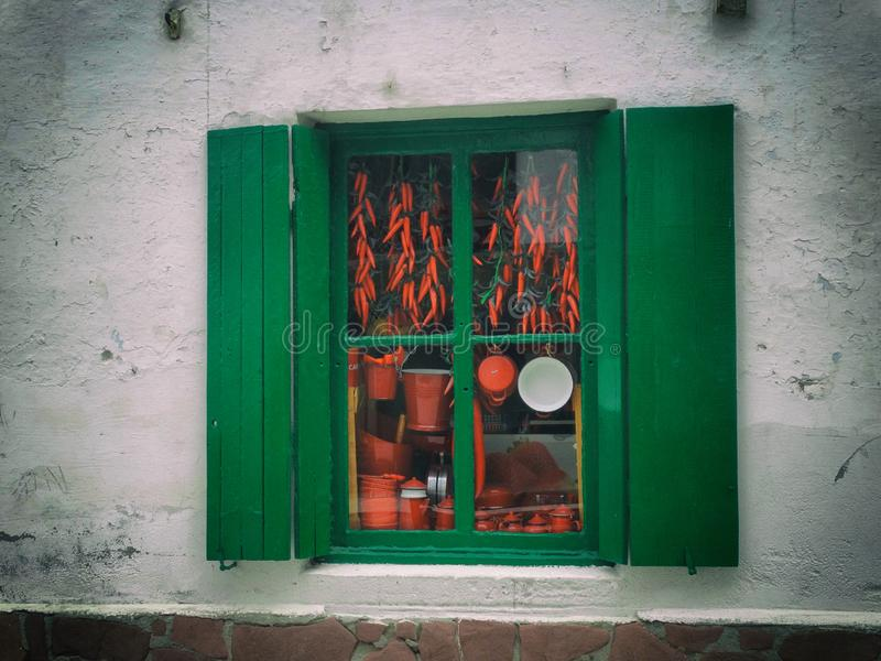 传统商店Vitrine在巴斯克地区的美丽的镇 库存图片