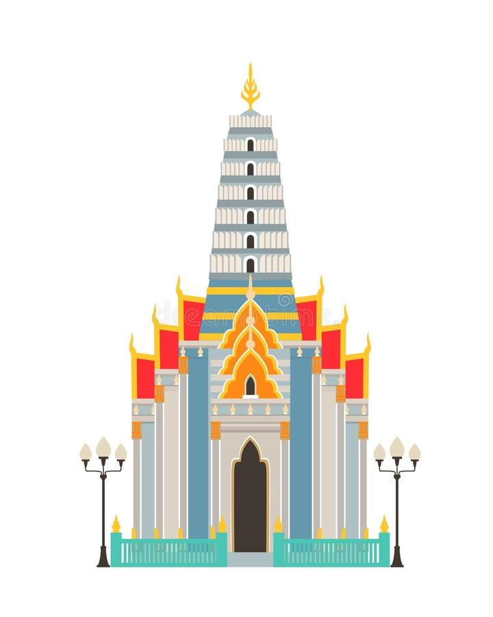 传统土气泰国寺庙 宗教豪华大厦,房子 向量例证