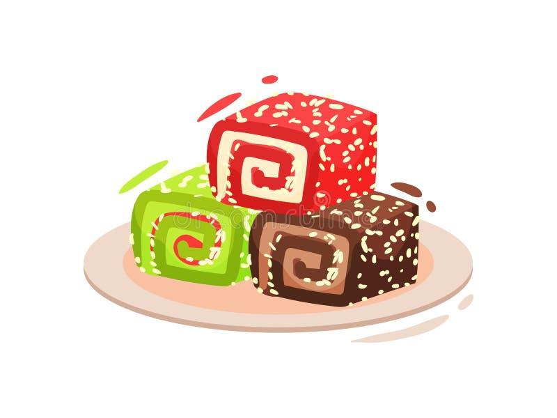 传统土耳其甜点 拉哈特lokum r 库存例证