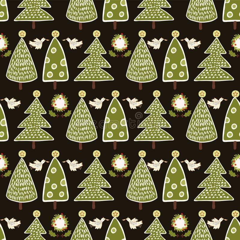 传统圣诞树乱画 向量例证