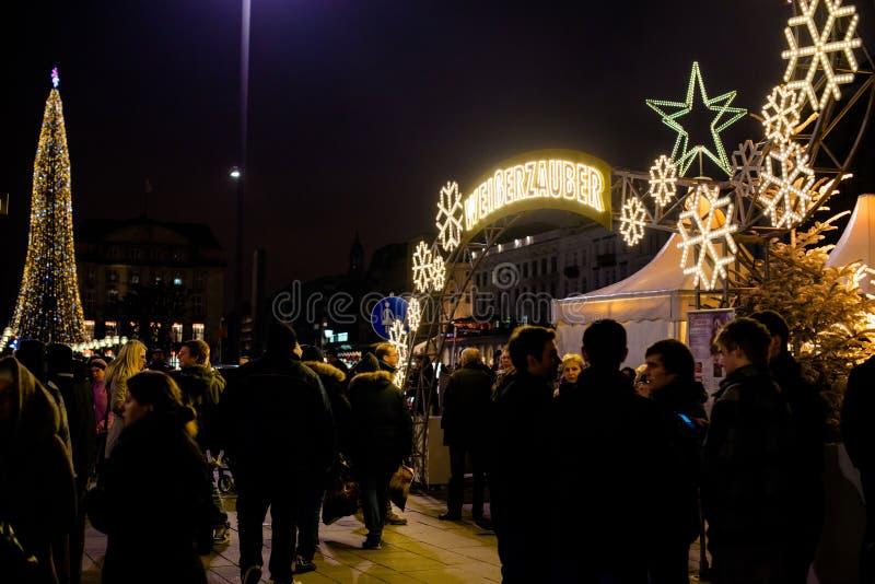 传统圣诞节市场在汉堡,德国 库存照片