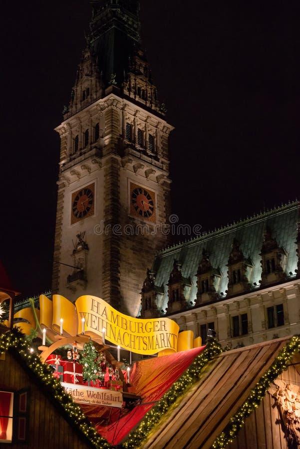 传统圣诞节市场在汉堡,德国 库存图片
