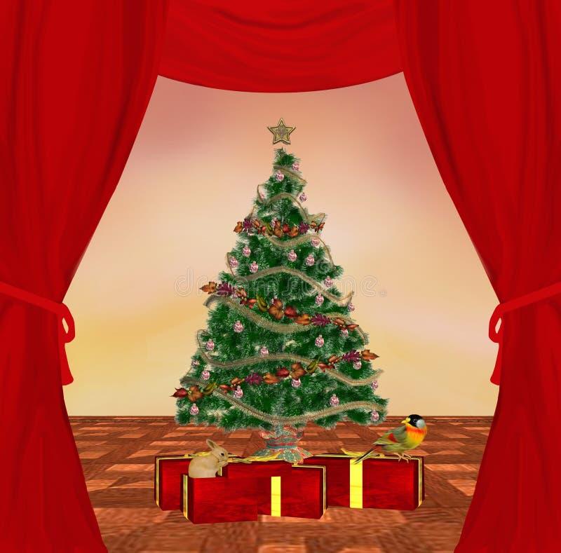 传统圣诞节的场面 皇族释放例证