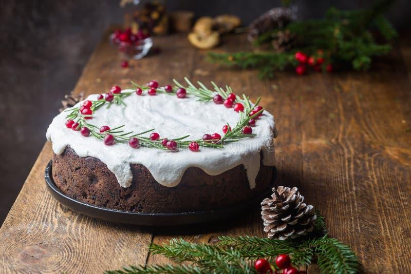 传统圣诞节蛋糕 免版税图库摄影