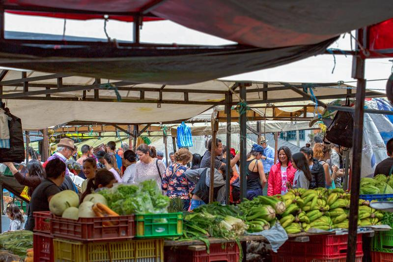 传统地方市场的场面 库存图片