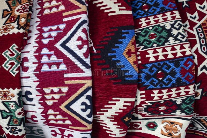 传统地毯产品 拍摄在商店 免版税图库摄影