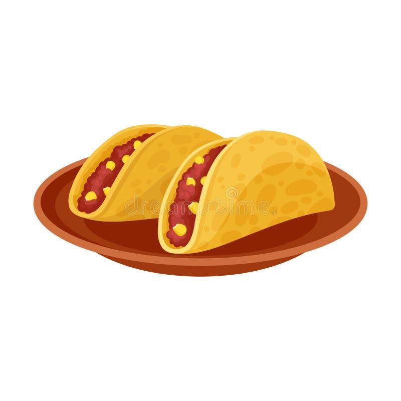 传统墨西哥炸玉米饼 r 向量例证