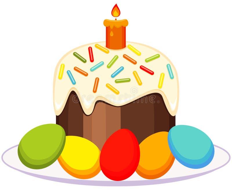 传统复活节蛋糕蜡烛在板材象怂恿 皇族释放例证
