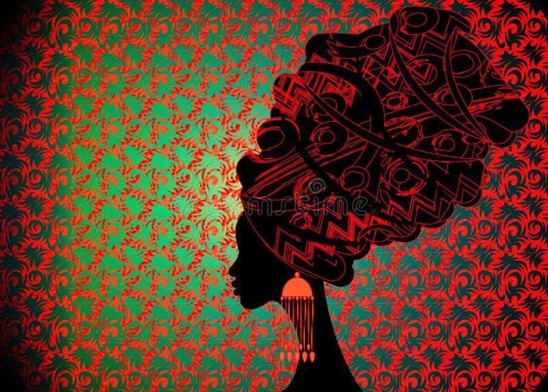 传统头巾的, Kente非洲头的套,传统dashiki打印,黑人蓬松卷发妇女画象美丽的非洲妇女 库存例证
