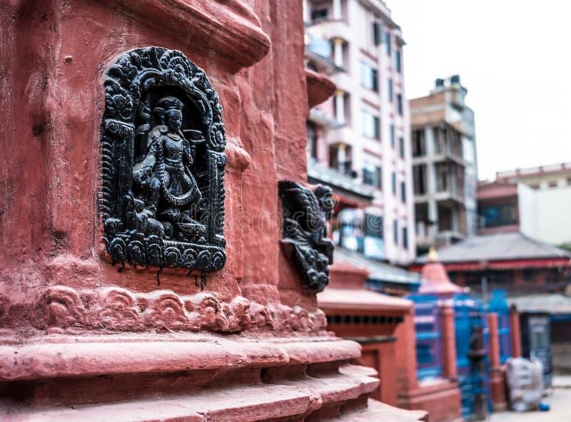 传统尼泊尔寺庙细节  免版税库存图片