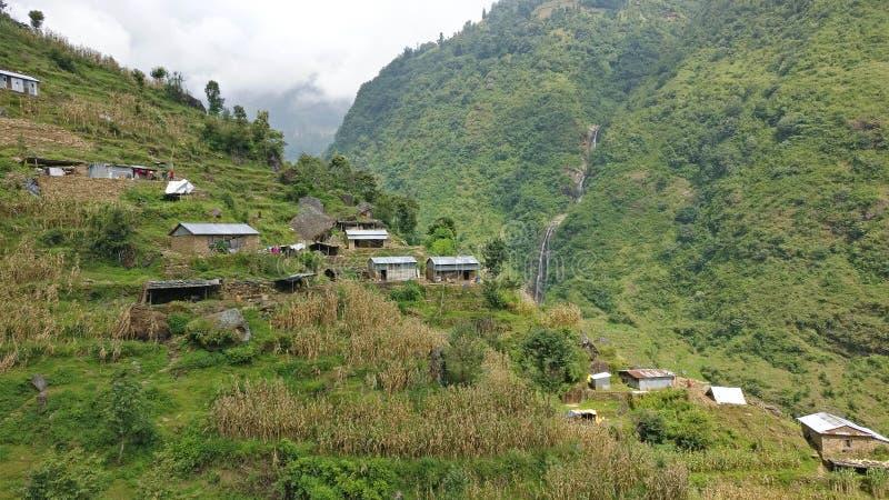 传统尼泊尔房子在农村尼泊尔村庄 库存照片