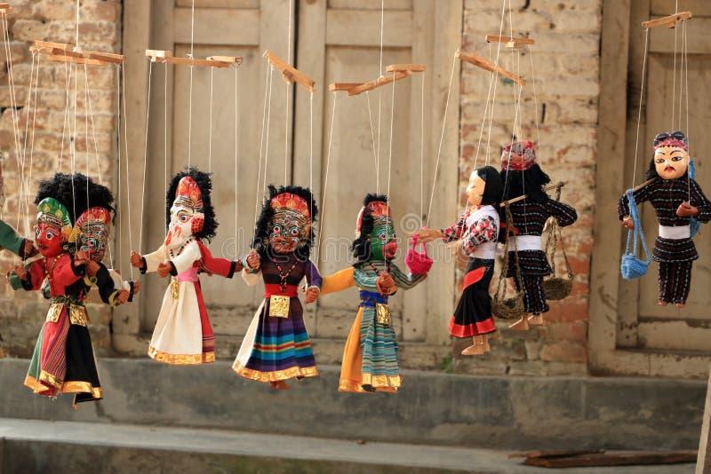 传统尼泊尔木偶在尼泊尔,木偶在加德满都 库存照片