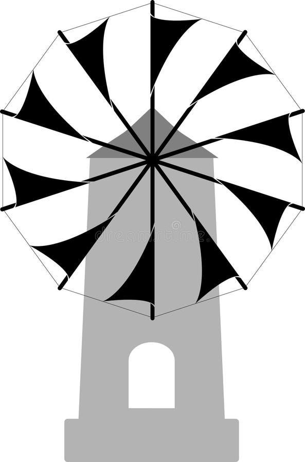 传统希腊被隔绝的海岛风车黑白传染媒介 库存例证