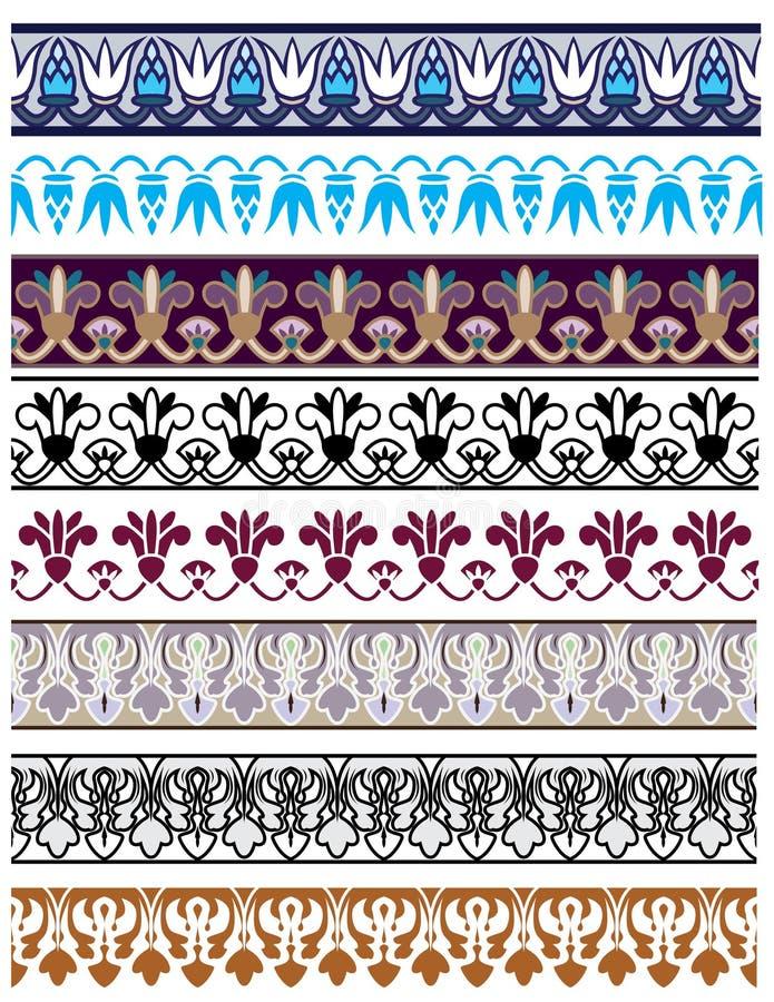 传统建筑装饰集合的钢板蜡纸 皇族释放例证