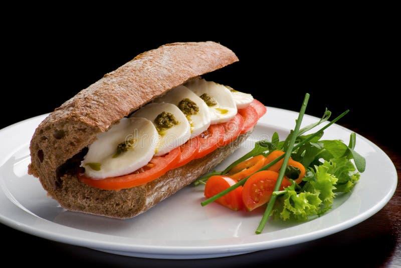 传统意大利三明治用无盐干酪、新鲜的蕃茄和pesto在一块白色板材 库存图片